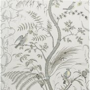 Brunschwig & Fils Tapet Bird and Thistle Grey