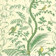 Brunschwig & Fils Tapet Bird and Thistle Green