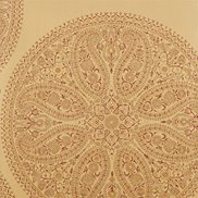 Tapet Paisley Circles Gold/Russet