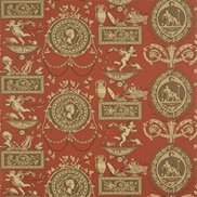 Tapet Roman Toile Red/Chocolate/Beige