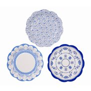 Papptallrikar Party Porcelain Blue 17 cm