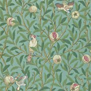 William Morris & Co Tapet Bird & Pomegranate Turquoise/Coral