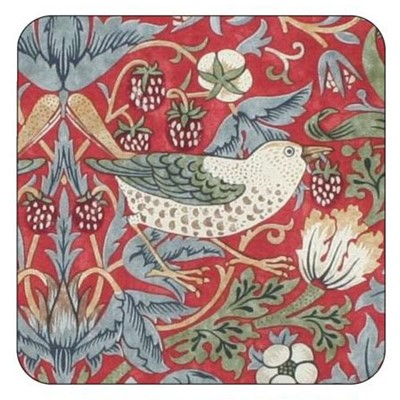 William Morris & Co Glasunderlägg Strawberry Thief Red