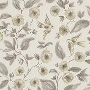 Sanderson Tapet Bird Blossom Charcoal/Gilver
