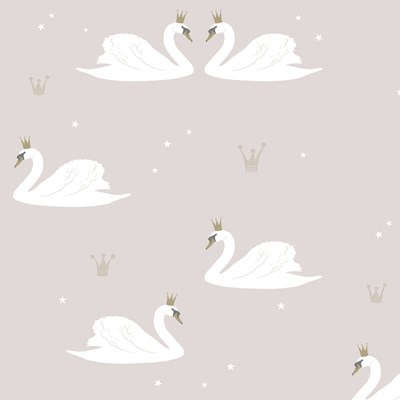 Hibou Home Tapet Swans Pale Rose
