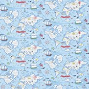 Sanderson Tapet Treasure Map Sea Blue