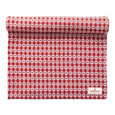 GreenGate Bordsduk Heart petit Red 145x250
