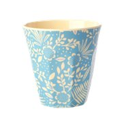 Rice Mugg Fern & Flower Blue Medium