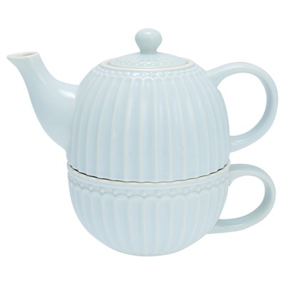 GreenGate Tekanna med kopp Alice Pale blue