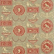 Sanderson Tapet Roman Toile Grey/Red/Cream