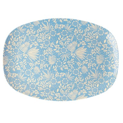Rice Tallrik Oval Fern and Flower Blue