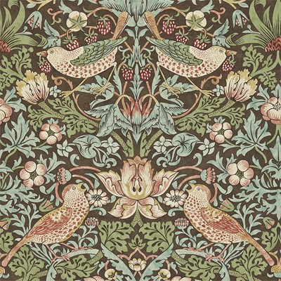 William Morris & Co Tapet Strawberry Thief Chocolate/Slate