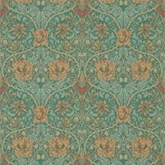William Morris & Co Tapet Honeysuckle & Tulip Emerald/Russet
