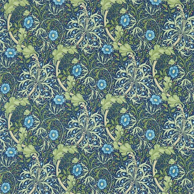 William Morris & Co Tyg Morris Seaweed Cobalt/Thyme