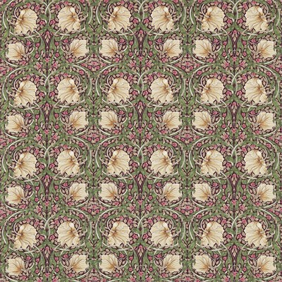 William Morris & Co Tyg Pimpernel Aubergine/Olive