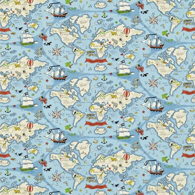 Sanderson Tyg Treasure Map Sea Blue