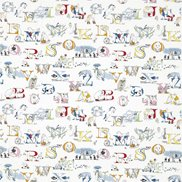 Sanderson Tyg Alphabet Zoo Embroidery Rainbow Brights