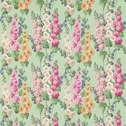 Sanderson Tyg Hollyhocks Mint/Pink