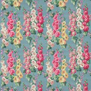 Sanderson Tyg Hollyhocks Petrol Blue/Multi