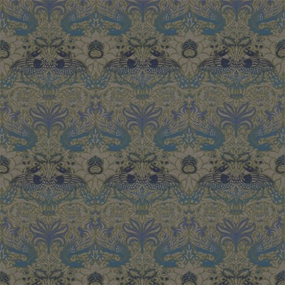 William Morris & Co Tyg Peacock & Dragon Moss/Prussian Blue