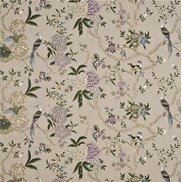 GP & J Baker Tyg Oriental Bird Embroidery Linen/Multi