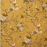 GP & J Baker Tyg Oriental Bird Linen Old Gold