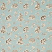 Sanderson Tyg Squirrel & Hedgehog Sky Blue/Pebble